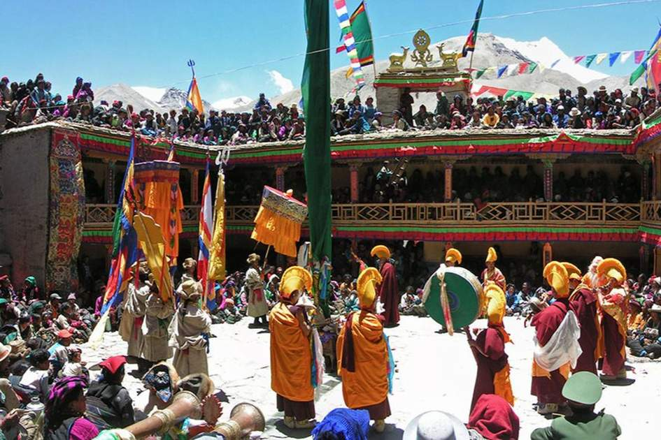 Photo taken 24 May 2005, at the Mani Rimdu festival at the Rongbuk monastery in Tibet, China. For most people there, it was the first time the authorities had allowed the festival to go ahead in living memory., (photo by BigStock )