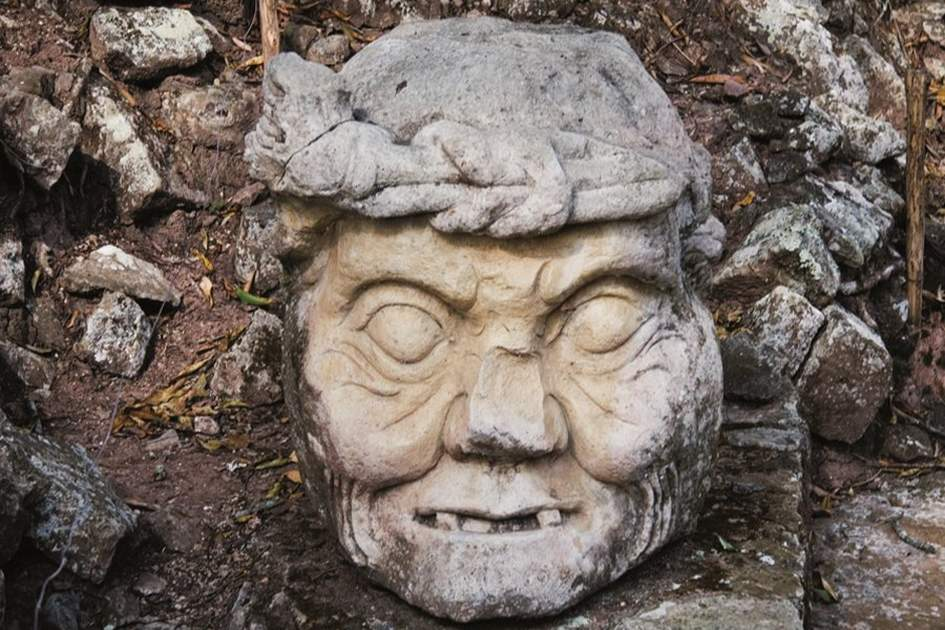 Pauahtun head, Copan Ruins, Honduras, (photo by Corrie Wingate)