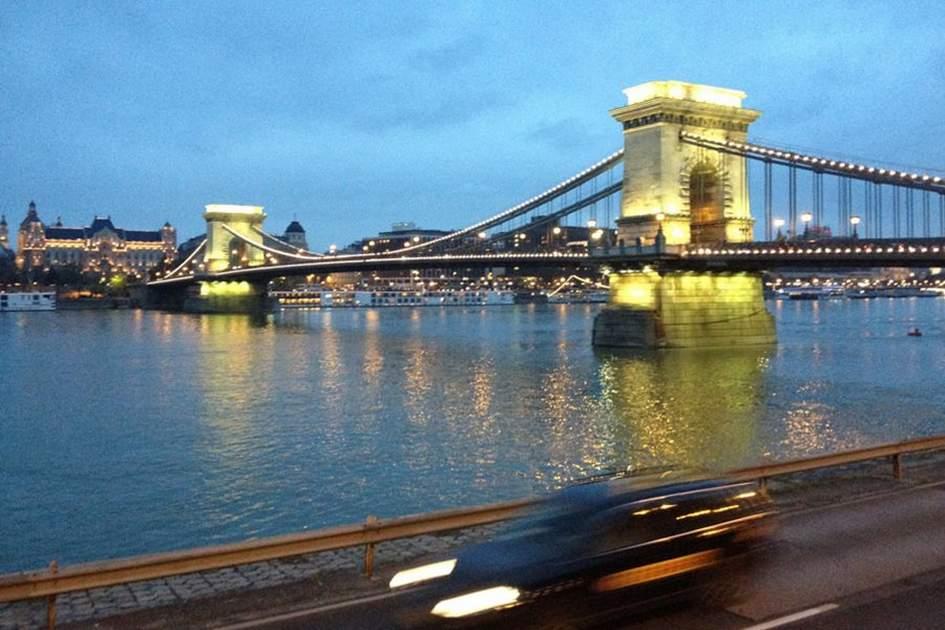 Budapest's Chain Bridge at night, (photo by Alexander Knights)