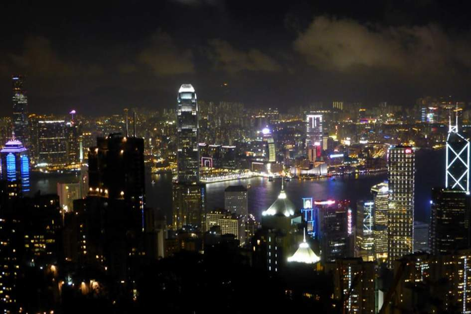 View from Hong Kong's Peak by night, (photo by Becky Lovell)