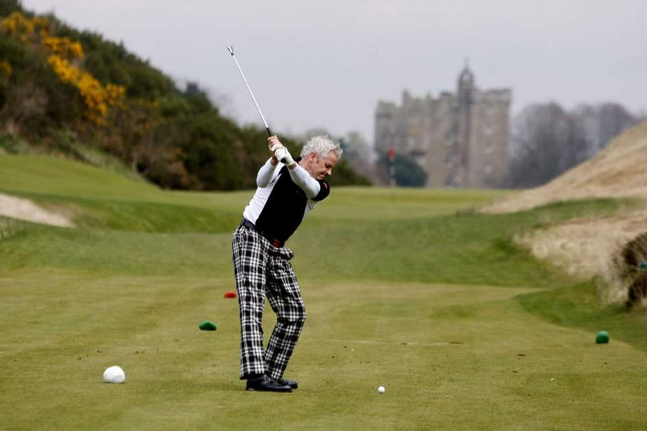 Playing golf at Castle Stuart, Inverness, (photo by David Cruickshanks)